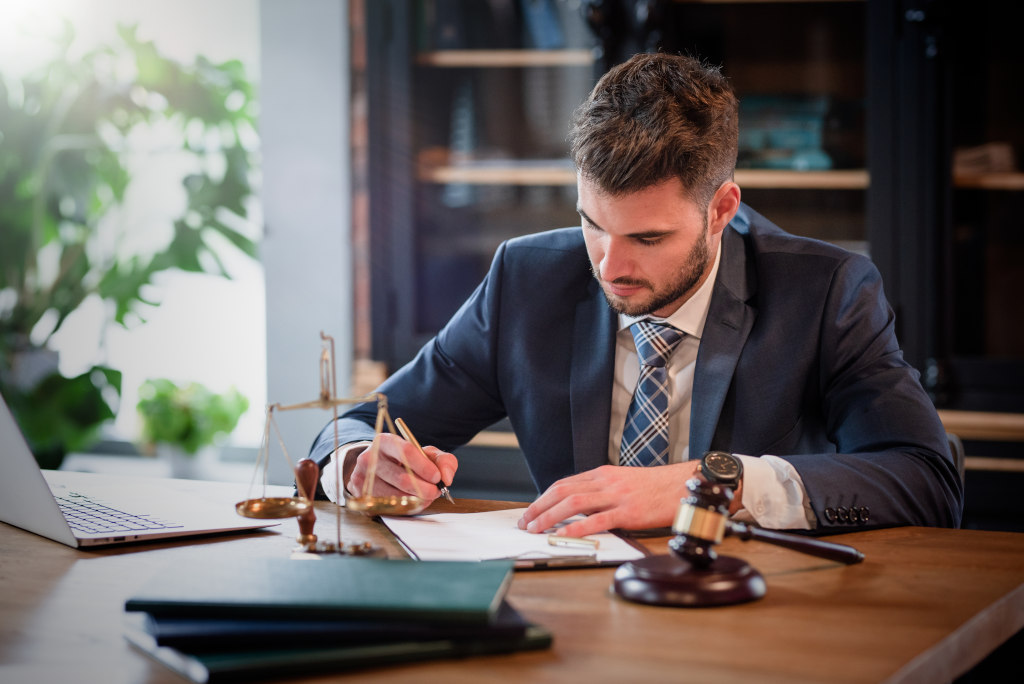 Lawyer working on case